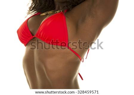 A close up of a woman in her bikini. - stock photo
