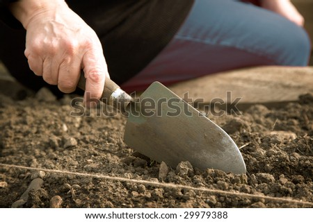 A close-up of a woman's hand holding a trowel and digging into the earth. - stock photo