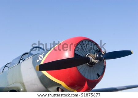 A close up of an airplane propeller - stock photo