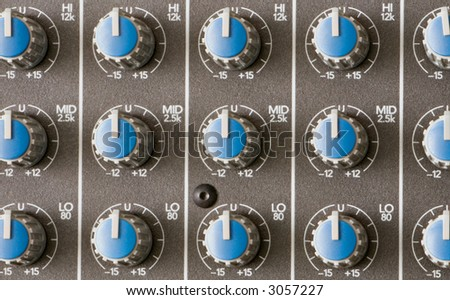 A Close Up Of An Audio Mixer Equalizer - stock photo