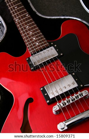 A close up of an electro acoustic guitar - stock photo