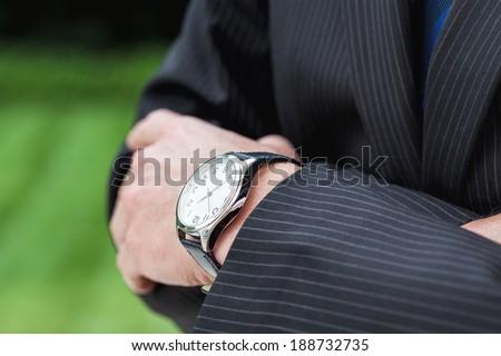 A close up of an expensive elegant watch - stock photo