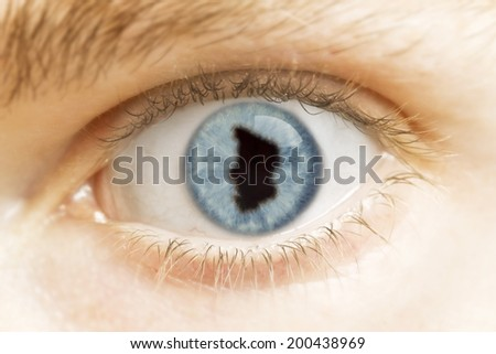 A close-up of an eye with the pupil in the shape of Chad.(series)