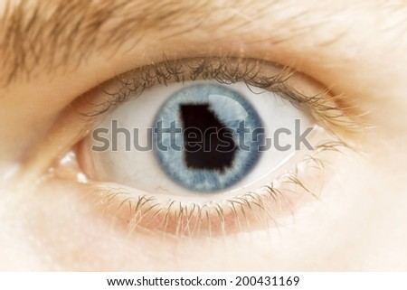 A close-up of an eye with the pupil in the shape of Georgia.(series)