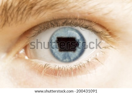 A close-up of an eye with the pupil in the shape of Iowa.(series)