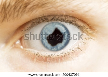 A close-up of an eye with the pupil in the shape of Lesotho.(series)