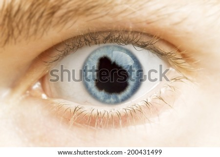 A close-up of an eye with the pupil in the shape of Uruguay.(series)