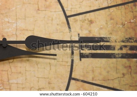 A close up of hands of a clock with roman numerals - stock photo
