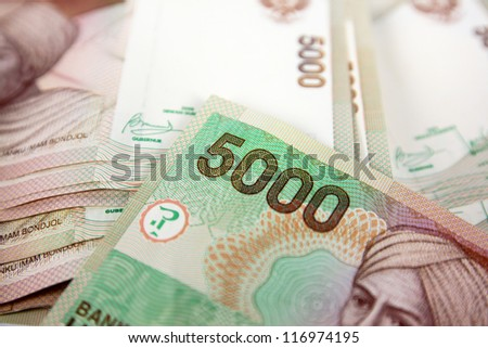 A close up of Indonesia currency
