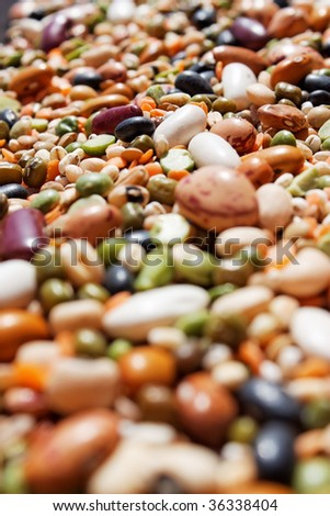 A close up of mixed beans with selective focus. - stock photo