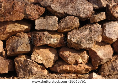 A close-up of neatly stacked rocks