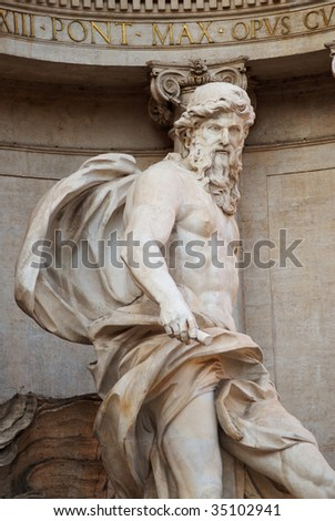 A close-up of Oceanus, in the Trevi Fountain, Rome, Italy