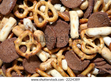 A close up of salty and crunchy snacks - stock photo