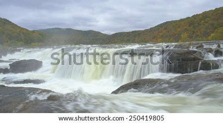 A close-up of Sandstone Falls. - stock photo