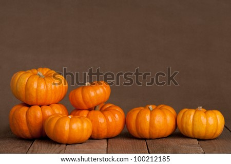 A Close Up of Several Small Pumpkins Lined up in a Row on Rustic Old Wooden Boards against Medium Brown Background with Copy Space - stock photo