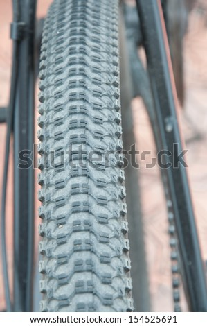 a close up of the bicycle wheel of mountain bike