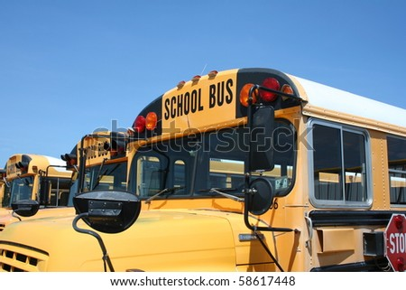 A close up of the front of a school bus - stock photo