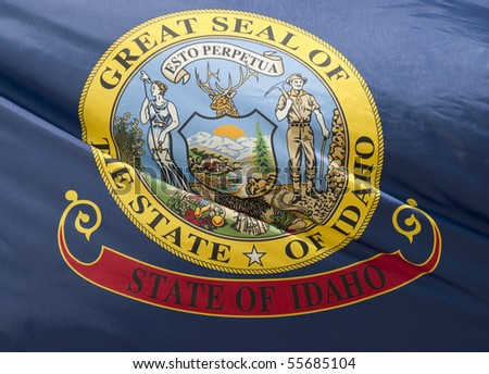 A close-up of the Idaho State Flag waving in the wind. - stock photo