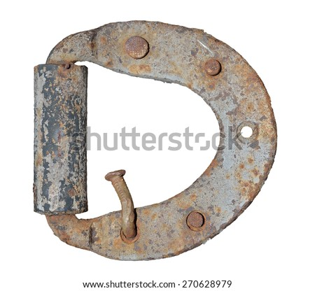 A close up of the old iron door-hinge. Isolated on white. - stock photo