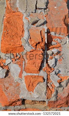 A close up of the surface old brickwork.