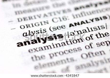A close up of the word analysis from a dictionary - stock photo