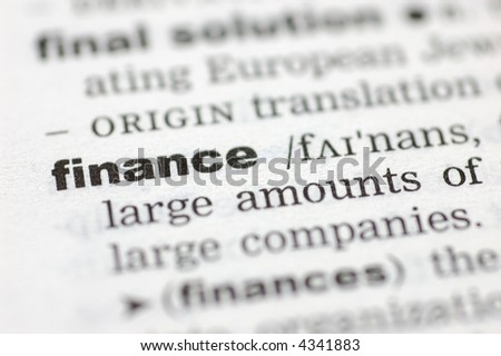 A close up of the word finance from a dictionary