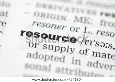 A close up of the word resource from a dictionary