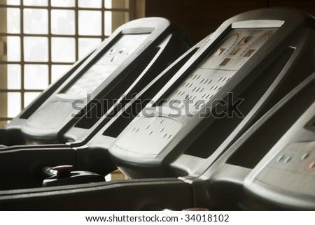 A close-up of treadmill equipment - stock photo