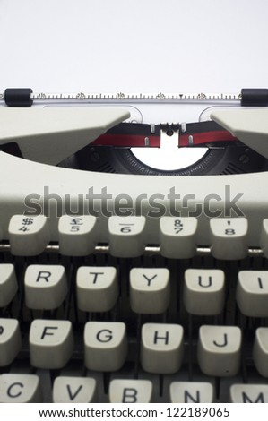 a close up of typewriter, deep field of depth. - stock photo