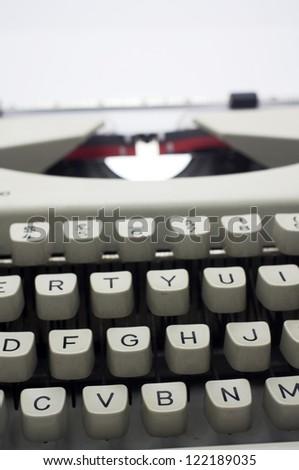 a close up of typewriter, focus on keys. - stock photo