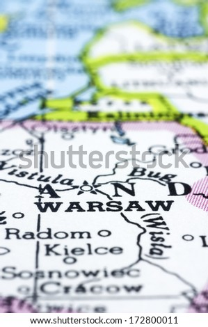 a close up of Warsaw on map, capital of Poland. - stock photo