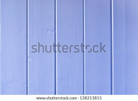 A close up of wood paneling painted pale blue on an interior or exterior wall. - stock photo