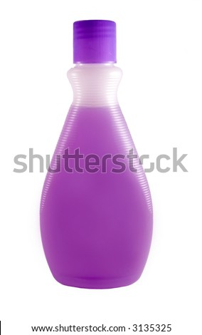 A close up on a bottle of purple fingernail polish remover isolated on a white background. - stock photo