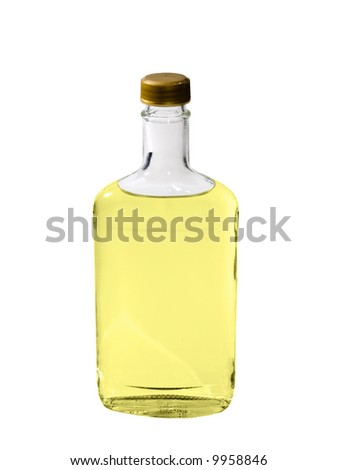 A close up on a bottle of Tequila isolated on a white background.