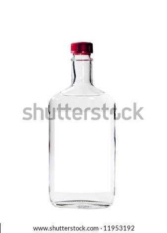 A close up on a bottle of Vodka isolated on a white background. - stock photo