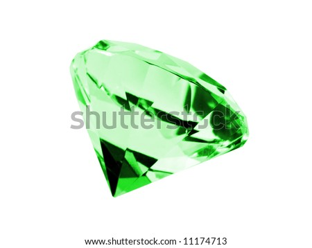 A close up on a emerald isolated on a white background. Shallow DOF. - stock photo