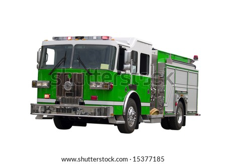 A close up on a firetruck isolated on a white background.  Environment concept image. - stock photo