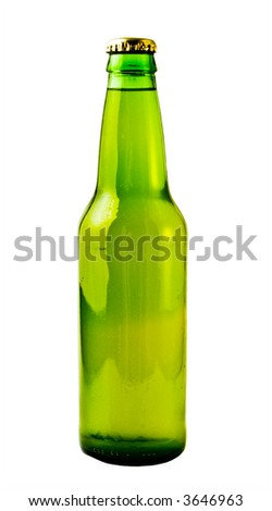 A close up on a green beer bottle isolated on a white background. - stock photo