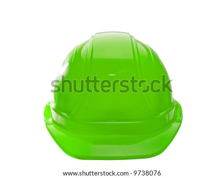 A close up on a green hard hat isolated on a white background.