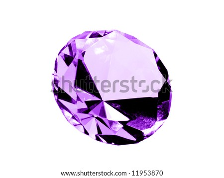 A close up on a isolated Amethyst jewel on a white background. Shallow DOF. - stock photo