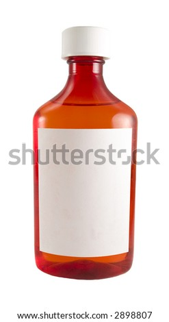 a close up on a medicine bottle with a blank label isolated on a white background - stock photo