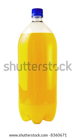 A close up on a orange soda bottle isolated on a white background. - stock photo