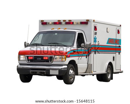 A close up on a paramedic van isolated on a white background. - stock photo