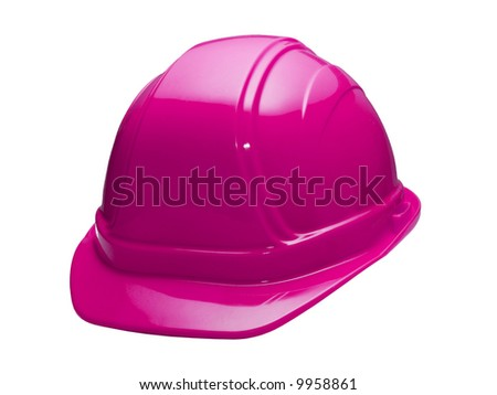 A close up on a pink hard hat isolated on a white background. - stock photo