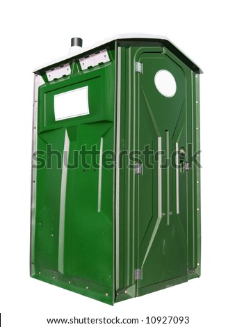 A close up on a plastic outhouse isolated on a white background. - stock photo
