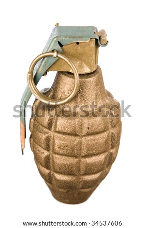 A close up on an isolated hand grenade.
