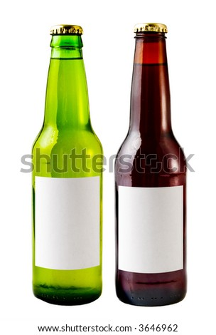 A close up on beer bottles isolated on a white background with blank lables. - stock photo