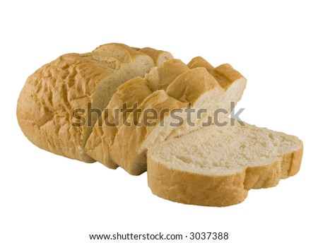 a close up on French Bread sliced and isolated on a white background