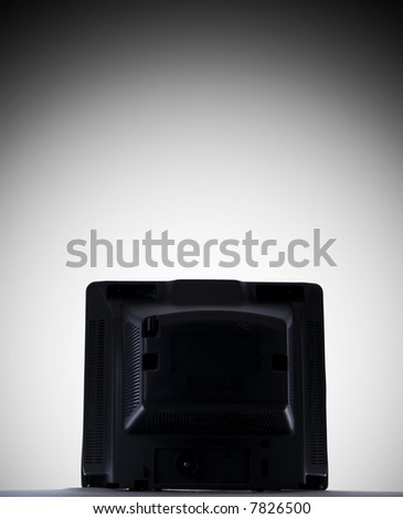 A close up on the back of a television on a white background with copy space above. - stock photo