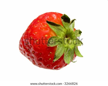 A close up photo of a fine, red strawberry - stock photo